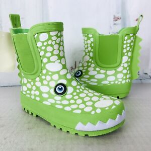 TUCKER & TATE Color Change Crocodile Green Waterproof Rain Boots Toddler Sz NWT