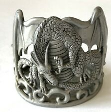 Vintage Dragon Candle Holder Pewter Fantasy Magic Mythical Goth Halloween Decor