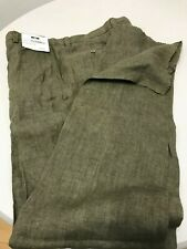 Joseph Abbound menis Pants NWT 100% Linen Size 36 R Unfinished Hem. Green
