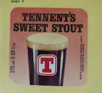 VINTAGE BRITISH BEER LABEL - TENNENT BREWERY RED SWEET STOUT 275ML