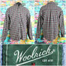 Woolrich Men's Black Plaid L/S Button Up Shirt Size Large Casual Front Pocket