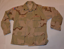 US ARMY AIRBORNE SERGEANT DESERT CAMO/CAMOUFLAGE SHIRT! USA FLAG/PATCHES! MED-SH