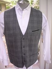 #582 MENS STRUCTURE STEAMPUNK WOOL PLAID CHECKED VEST WAISTCOAT XL