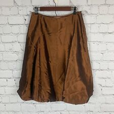 Metro 7 Satin Midi Skirt Bronze Rust Womens Size 4 Balloon Hem Bottom