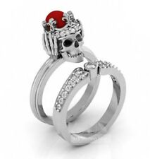 Gothic Halloween Crown Skull 925 Sterling silver Wedding Engagement Ring set