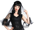Sinister Gothic Black Lace Wedding Veil Tulle Double Venetian Lace Satin Roses