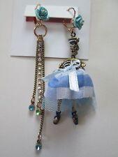 NWT Auth Betsey Johnson Skulls & Roses Blue Sailor Skeleton Mismatch Earrings