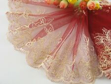 """6""""*1yard delicate embroidered flower on red tulle lace trim DIY 0397"""