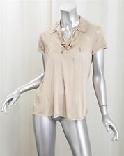 BALLY Womens Nude Beige Silk Knit Short-Sleeve Collared Shirt Top Blouse US 2