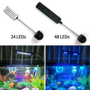 24/48 LEDs White Blue Flexible Aquarium LED Light Fish Tank Table Clip On Lamp