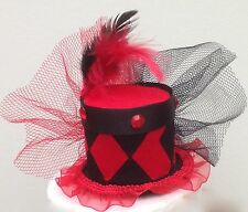 Red and Black Harlequin mini top hat