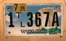 "WYOMING TRAILER TRL CYCLE SIZE LICENSE PLATE "" 1 TL 367 A "" WY"