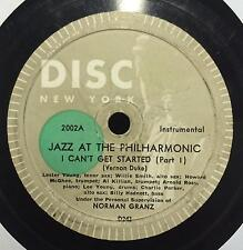 "Jazz At The Philharmonic - I Can't Get Started 12"" 78 VG- D243 D244 Disc Nyc"