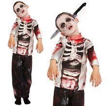KID'S ZOMBIE COSTUME BOYS HALLOWEEN WALKING DEAD SKELETON FANCY DRESS SIZE 4-12
