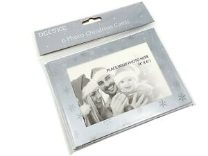 6 Silver Snowflake Christmas Cards Add Own Photo Gift Card Elegant Personalise