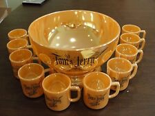 FIRE KING TOM + JERRY PUNCH BOWL SET W/ 10 CUPS