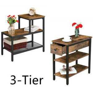 Side Table 3-Tier Narrow Nightstand W/ Ladder Shelf Sofa End Table 2 Models