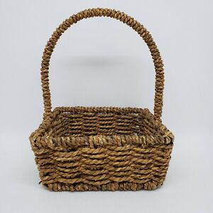 """Seagrass Woven Basket Toy Card Craft Storage Metal Frame Small 7.25""""h x 5.5""""w"""