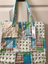 Bohemian tote purse, quilted multicolor Cotten handbag
