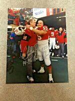 NEBRASKA FOOTBALL CHRISTIAN PETER #55 & TOM OSBORNE SIGNED 16x20 94/95 CHAMPS
