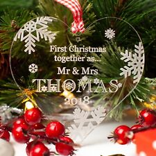 First Christmas Personalised Love Heart. Xmas Tree Decoration Bauble Gift Clear.