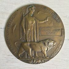 More details for ww1 bronze original 'death penny' plaque george percy cooper wonderful patina