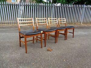 Wonderful Retro Teak Set Of 4 Dining Chairs Danish Quality