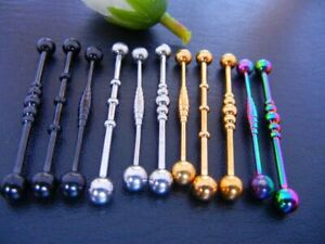 50pcs 14g Surgical Steel Straight  Barbell Ear Industrial Scaffold Bar Mix Style