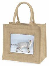 Oriental Black+Silver Cat Large Natural Jute Shopping Bag Christmas G, AC-106BLN