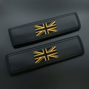 Mini Cooper seat belt cover Shoulder pads with Gold Jack embroidery 2pcs