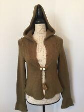 ANTHROPOLOGIE-Sleeping On Snow Long Sleeve-Hooded Cardigan Sweater-Olive-Size S