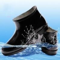 Mens Short Boots Rain Waterproof PVC Pull On 02W Flat Heel Work Punk Shoes Black