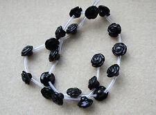 Agate Black (Gemstone) Hand Carved Flower Beads 12mm - Full Strand