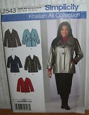 Womens/Misses Khaliah Ali Jackets Sewing Pattern/Simplicity 2543/SZ 10-18/UCN