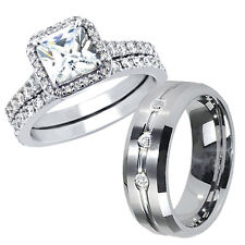 Silver Engagement Wedding Rings Band Set Glossy His Tungsten Hers .925 Sterling