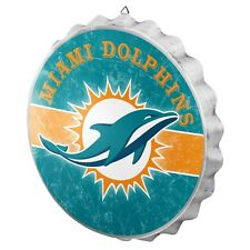 Miami Dolphins Bottle Cap Wall Sign - Distressed - Room Bar Decor Metal 13.5""