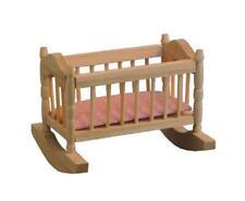 Dolls House Bare Wood Rocking Cradle Crib & Pink Mattress 1:12 Nursery Furniture