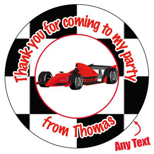 Personalised Formula 1 Racing Car Birthday Stickers Party Bag Thank You -506