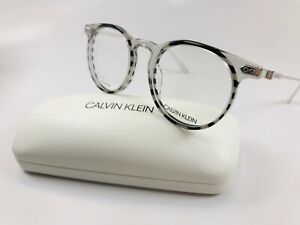 New Calvin Klein CK18705 073 Crystal Smoke & Stripes Eyeglasses 49mm with Case