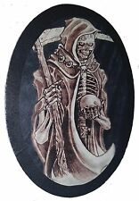 LEATHER SKELETON GRIM REAPER DEATH SKULL MOTORCYCLE JACKET VEST BIKER PATCH