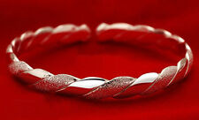 Women's/Girl's: 925 Silver Plated White Gold 'Twisted Rope' Open Bangle/Bracelet