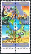 CHILE 1996 STAMP # 1828/31 MNH BLOCK OF FOUR EARTH SCIENCE CONGRESS