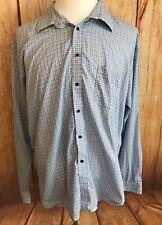 Blue Pronto Uomo Men's XXL Blue Plaid Long Sleeve Button Up #H4-13