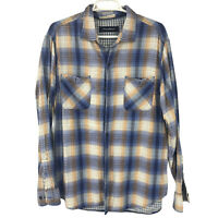 Tommy Bahama Adult Plaid Mens Blue Button Up Shirt Hawaiian L Large