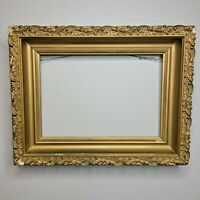 "Antique Gold Gilt Gesso And Wood Old Picture Frame 9.5"" x 13"""