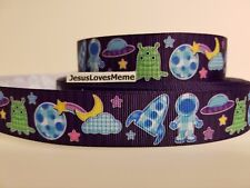 Grosgrain Ribbon Outer Space Ship Rocket Alien Astronaut Stars Clouds Planets 1""
