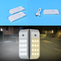 12-LED USB Rechargeable Motion Sensor Closet Nightlight Wardrobe Auto Lamp P&T