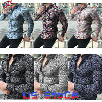 Mens Shirt Retro Floral Print Long Sleeve Muscle Slim Casual Tops Tee Party US