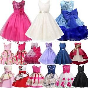 Mädchen Kinder Prinzessin Tüll Kleid Hochzeit Festlich Ballkleider Party Kleider