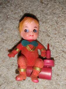 """Vintage Mid Century Christmas Flocked Child Yule Log Plastic Tree Ornament 4"""""""